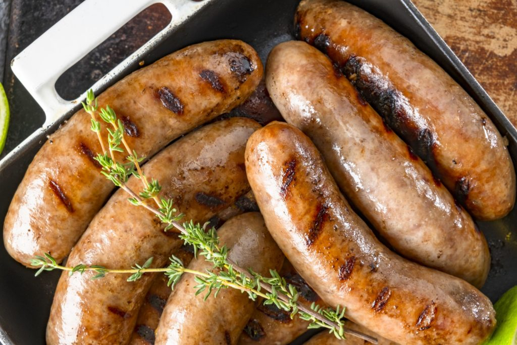 Sausages to make bangers and mash and bratwurst dinner