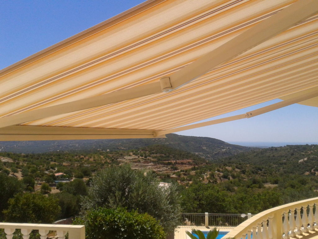 Stripped fabric awnings in the Algarve
