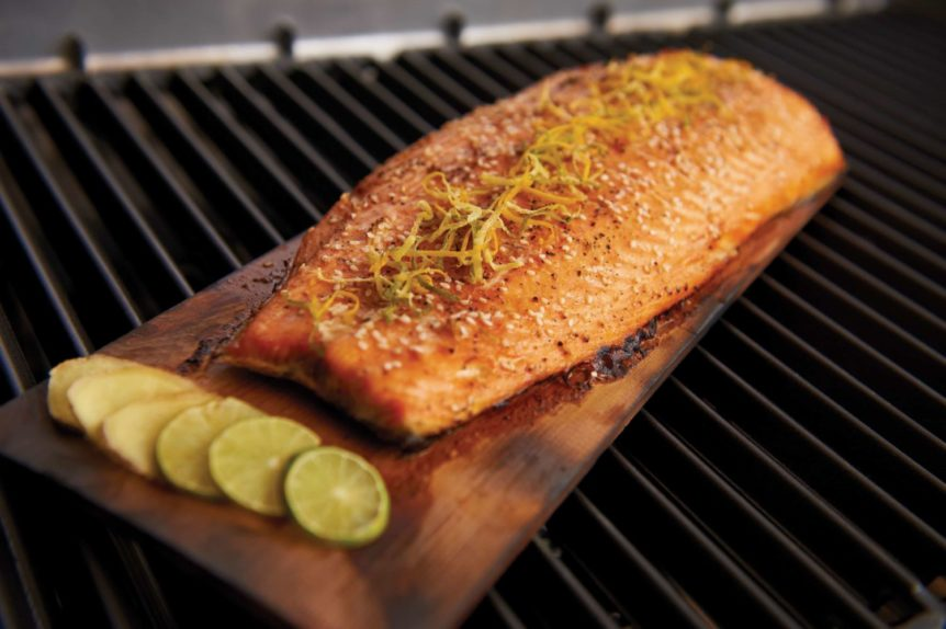 salmon grilled on a plank