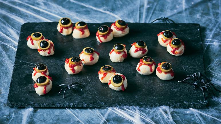 mozzarella eyes for Halloween